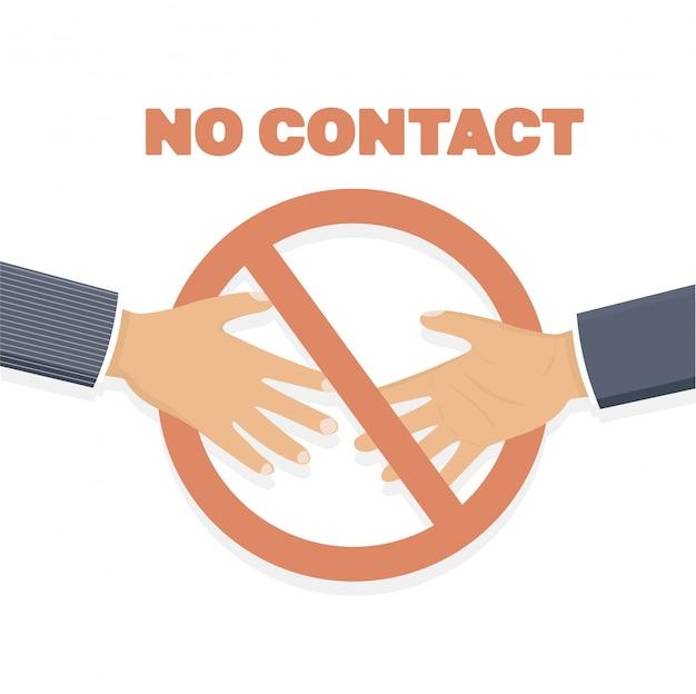 Запрет рукопожатия. нет рукопожатия, нет контакта. Premium векторы