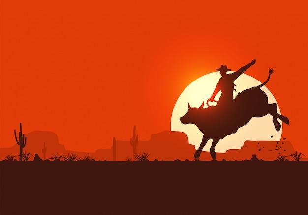 日没で雄牛に乗ってロデオカウボーイ、 Premiumベクター