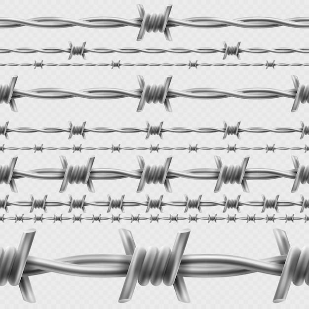 Металлические колючей проволоки горизонтальной бесшовные границы шаблон и элементы объекта. Premium векторы