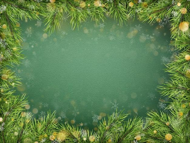Веселого рождества и счастливого нового года шаблон с еловыми ветками праздник, боке. вид сверху. Premium векторы