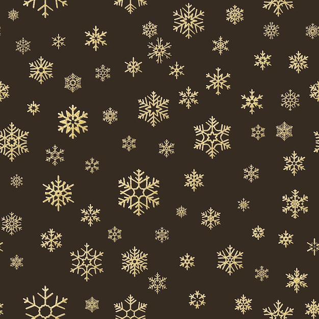 Счастливого рождества праздник украшение эффект. золотая снежинка бесшовные модели. Premium векторы