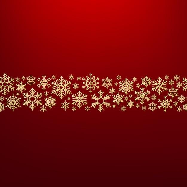 Счастливого рождества фон с золотыми снежинками. шаблон поздравительной открытки. Premium векторы