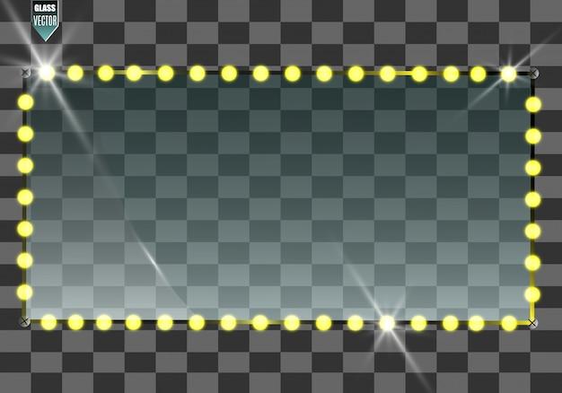Векторные баннеры стекла на прозрачном фоне. пустой прозрачный стеклянный каркас. чистый фон вектор. Premium векторы