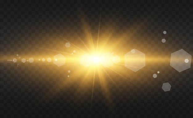 金粉とキラキラと半透明の背景の星の美しい黄金ベクトルイラスト。あなたのための壮大なライトベース。 Premiumベクター