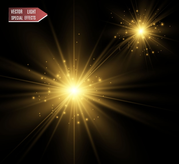 黄金の明るい星。ライト効果の明るい星。説明する美しい光。 Premiumベクター