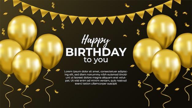 С днем рождения приглашение с золотым шаром Premium векторы