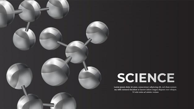 金属分子球体科学バナー Premiumベクター