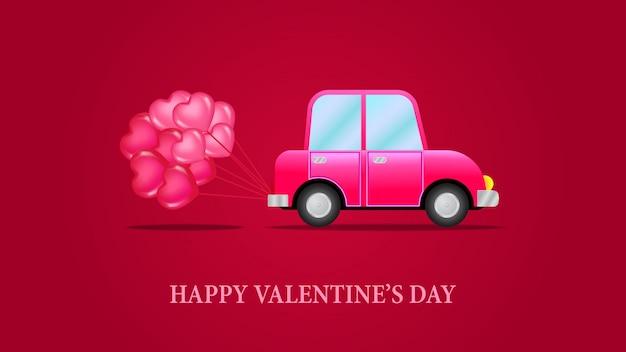 バレンタインデーの車の愛のバナーのテンプレート Premiumベクター