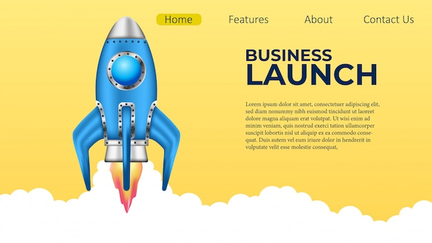 ビジネスロケット打ち上げ計画着陸ページ Premiumベクター