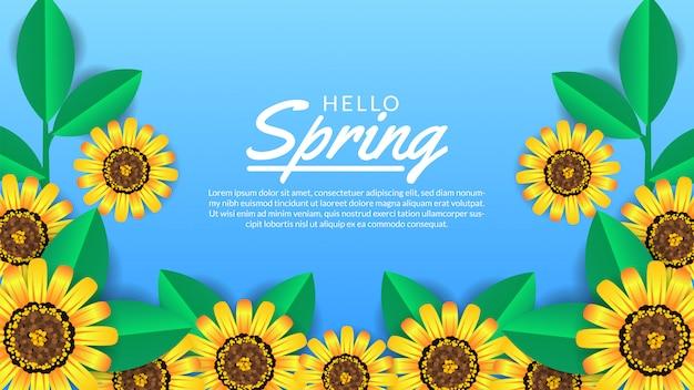 Привет весенний баннер шаблон цветок цвести Premium векторы