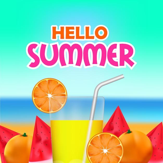 こんにちは熱帯の新鮮な果物と夏の時間 Premiumベクター