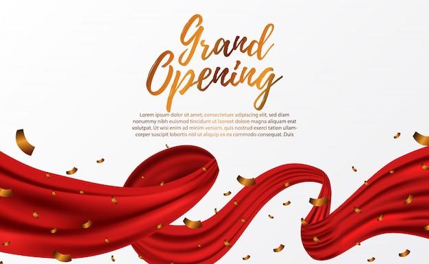 グランドオープンラグジュアリーレッドシルクリボン Premiumベクター