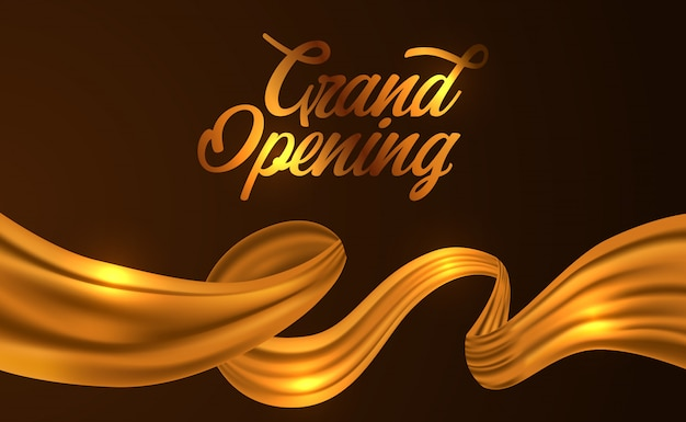 ゴールデンシルクリボングランドオープンセレモニー Premiumベクター