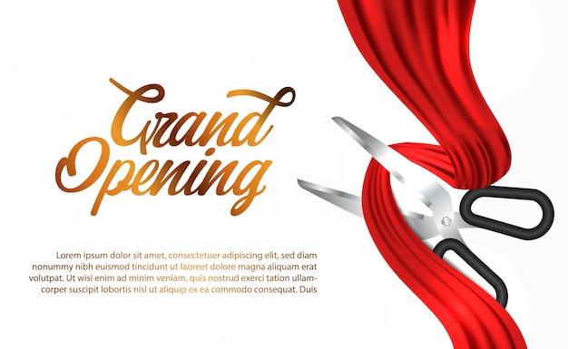 赤い絹のリボングランドオープンセレモニー Premiumベクター