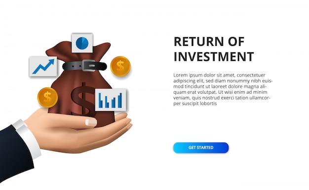 Финансовая концепция возврата инвестиций, иллюстрации денежный мешок, золотая монета и значок диаграммы Premium векторы