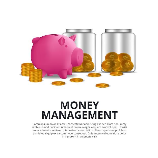 黄金のコインとピンクの貯金箱とガラス瓶 Premiumベクター