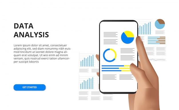 携帯電話のデータ分析レポートの概念図を持っている手 Premiumベクター