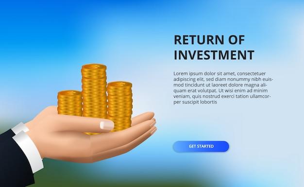 投資収益率、利益機会の概念。成功へのビジネスファイナンスの成長。黄金のコインを持っている手。 Premiumベクター