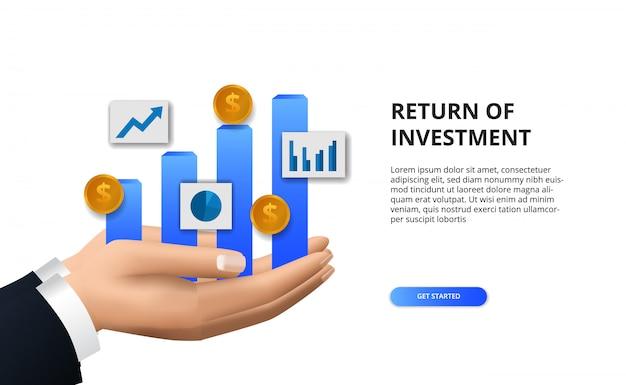 Рентабельность инвестиций, концепция возможности получения прибыли. рост финансирования бизнеса к успеху. рука графическая информация Premium векторы