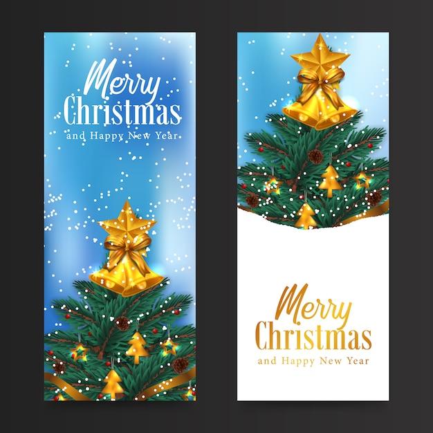 Поздравительная открытка с рождеством и новым годом с елкой, украшенная гирляндой из ели, сосны, ели и золотым колокольчиком Premium векторы