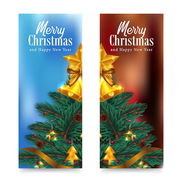 С рождеством и новым годом открытка с елкой, елкой, еловыми листьями, гирляндой, золотым колокольчиком, звездой Premium векторы