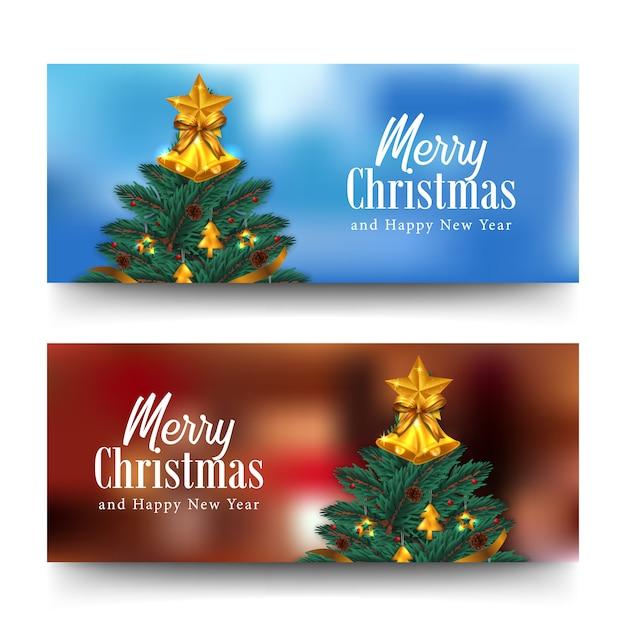 Открытка с новым годом и рождеством горизонтальный баннер Premium векторы