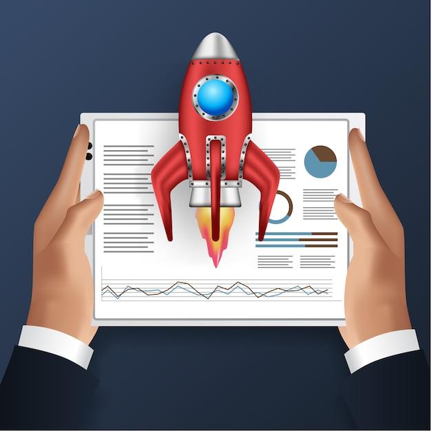 Рука планшет с иллюстрацией анализа данных и запуска ракеты Premium векторы