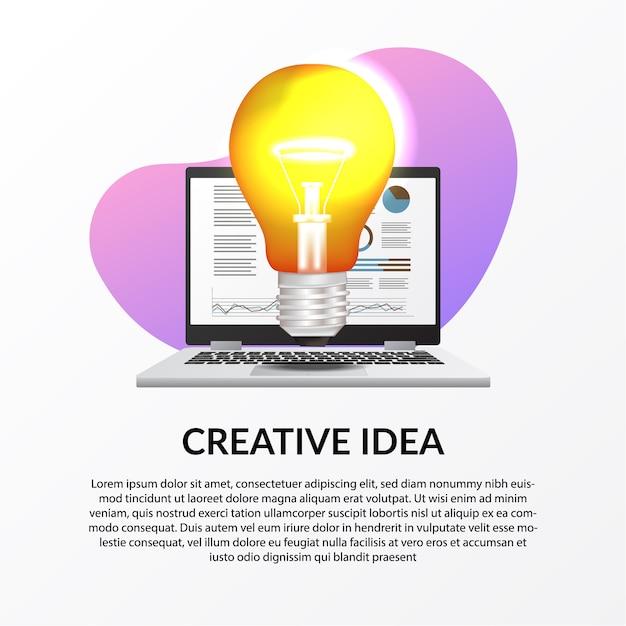 ビジネスの創造的な仕事のためのインフォグラフィックデータとラップトップで光ランプのイラスト Premiumベクター