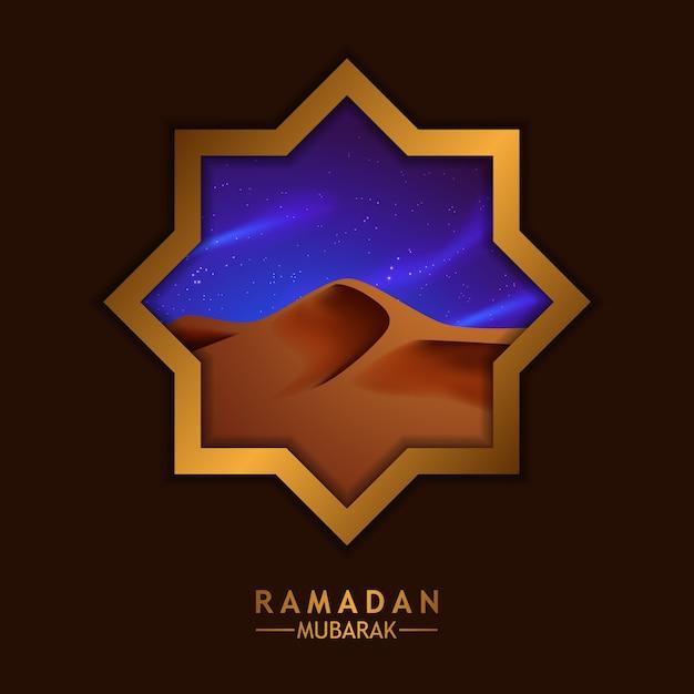 ラマダンのアラビア中東の砂漠のシーンのイラストと美しい豪華なゴールデンフレームスター窓 Premiumベクター