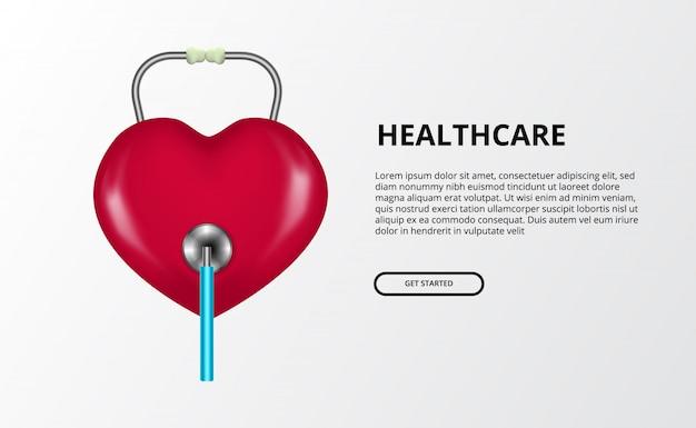 Символ влюбленности сердца с иллюстрацией концепции стетоскопа для концепции дня здоровья мира. Premium векторы