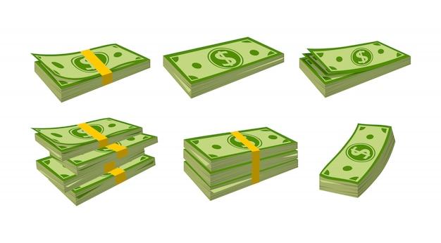 お金紙幣漫画セット。銀行券をまとめて梱包します。さまざまなバンドルの緑のドル Premiumベクター