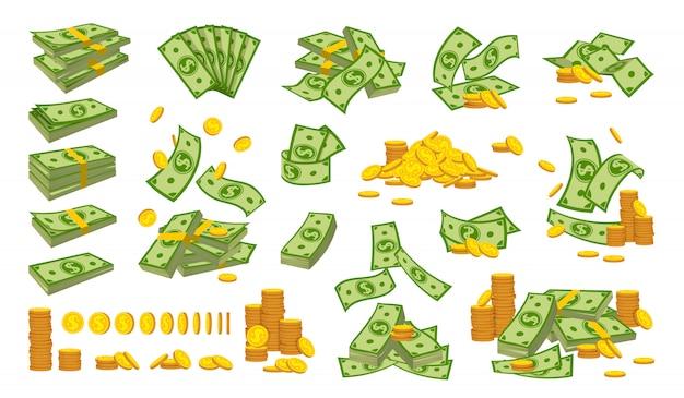 お金の山コインスタックフラット漫画セット。金貨銀行通貨記号下落数百ドル Premiumベクター