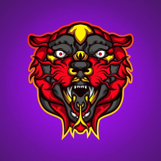 野生の赤虎の頭ゲームマスコットロゴベクトル Premiumベクター