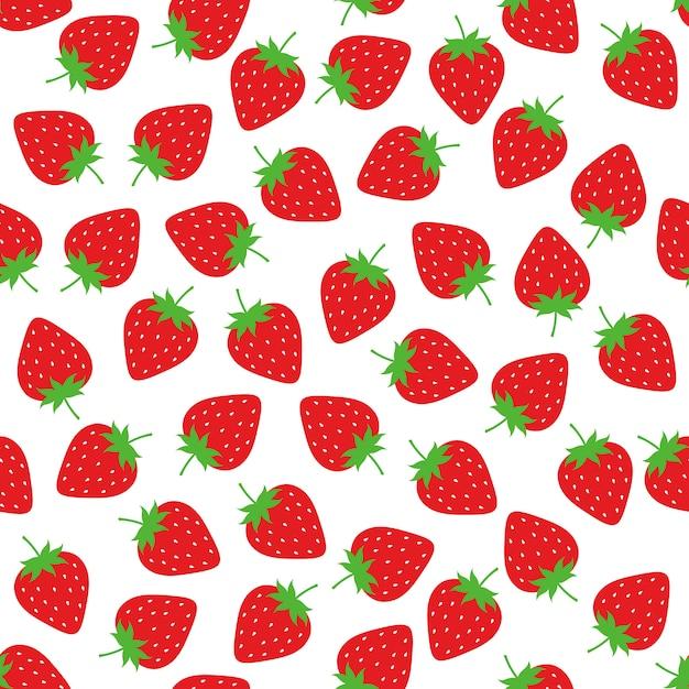 イチゴのシームレスなパターンの背景ベクトルのデザイン Premiumベクター