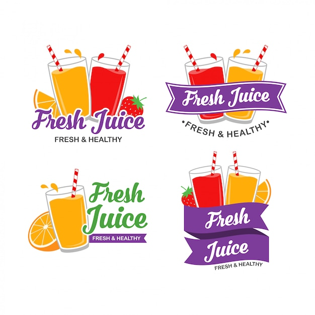 Свежий дизайн логотипа сока Premium векторы