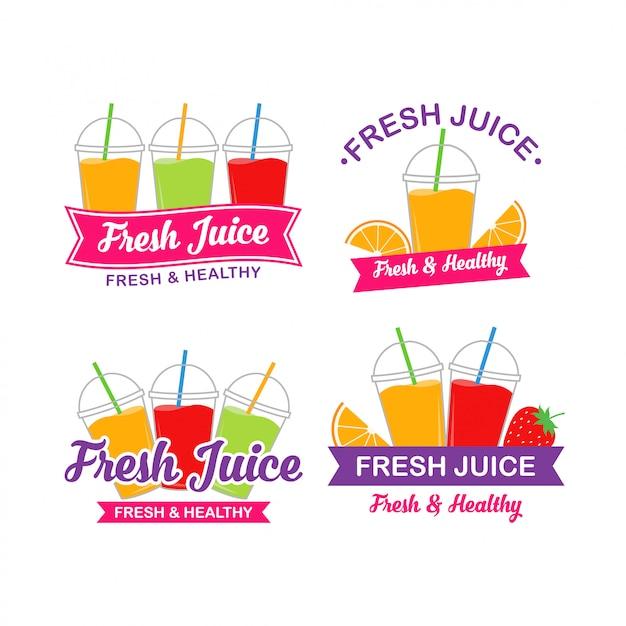 Новый дизайн логотипа фруктового сока Premium векторы
