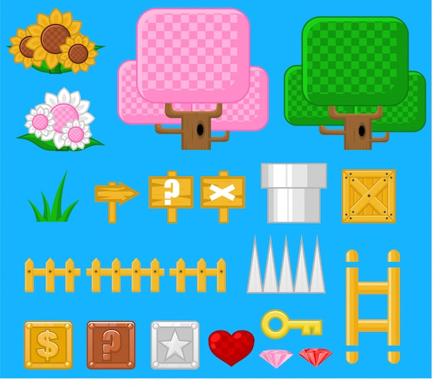 Фэнтези-объекты игры Premium векторы