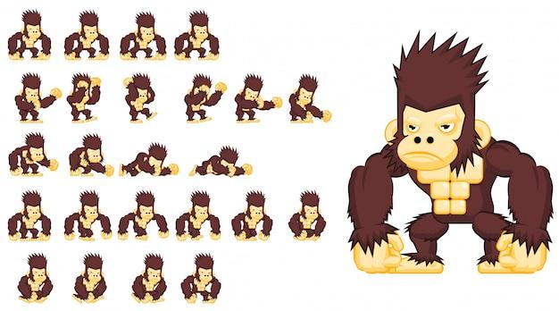 Обезьяна игровой персонаж Premium векторы