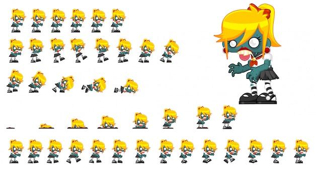 Зомби девушка игра спрайт Premium векторы