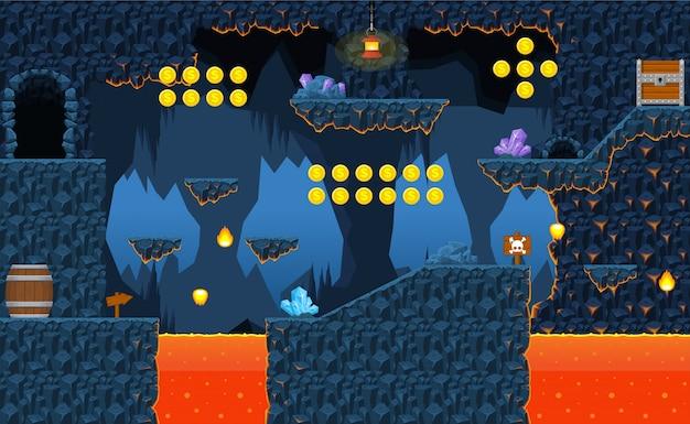 火山ゲームのタイルセット Premiumベクター