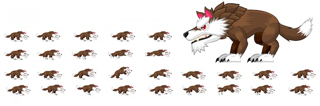 Волк спрайты Premium векторы