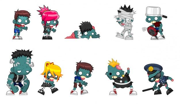 Иллюстрация символов зомби Premium векторы
