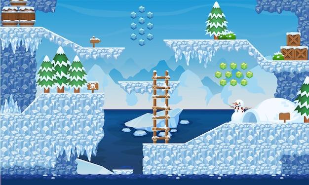 北極ゲームのタイルセット Premiumベクター
