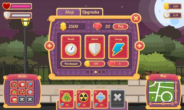 Пользовательский интерфейс игры хэллоуин Premium векторы