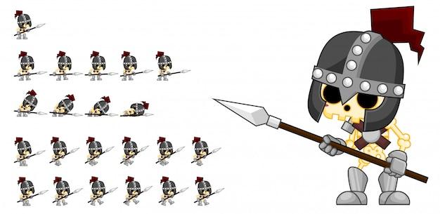Скелет армии игры спрайт Premium векторы