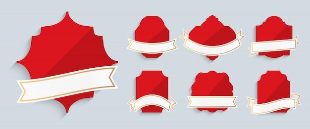 Красные метки с золотой раме ленты ретро винтаж набор. различные формы для продвижения, цена продажи. шаблон для текста баннер специальное предложение. роскошная декоративная современная наклейка Premium векторы