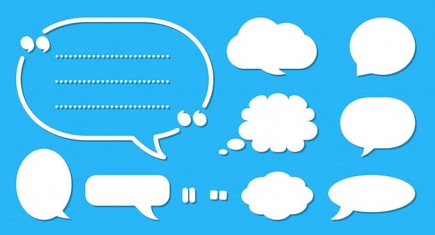 コミック吹き出しセット。漫画の空のテキストボックスの雲。さまざまな形の抽象的なアイコンフラットの空白の泡。コミックメッセージバルーンテンプレート Premiumベクター