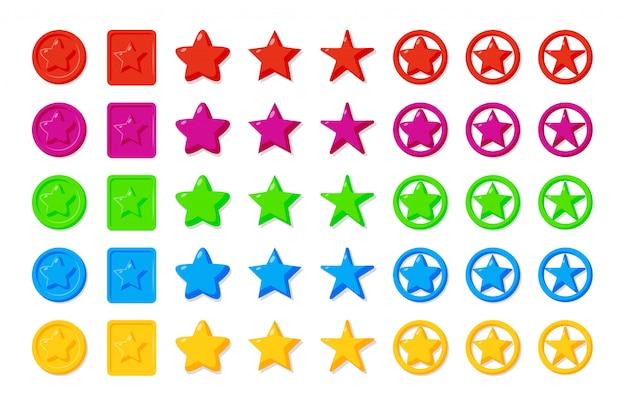 Звезды игры элементы значок мультфильм набор. Premium векторы