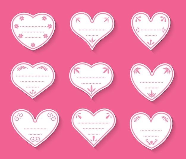 心紙カットヴィンテージラベルセット。価格タグのバレンタインデーのサイン、愛についてのステッカー。テキストボックスのドットの異なる形状の空のテンプレート Premiumベクター