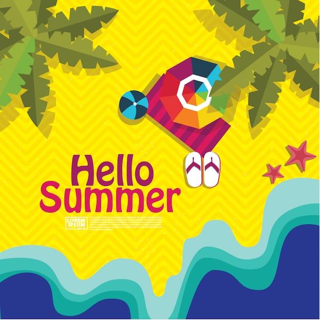 こんにちは夏 Premiumベクター